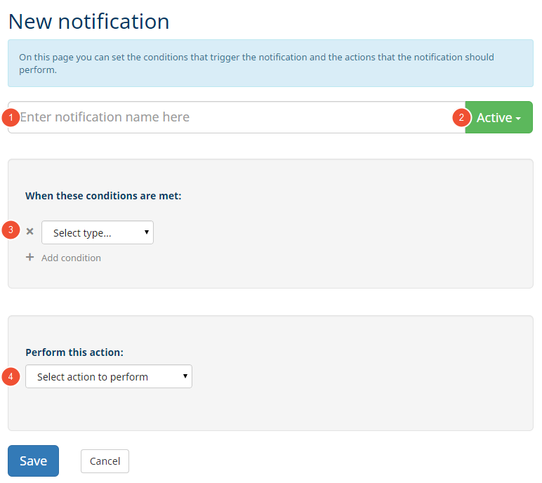 overview when creating a new notification