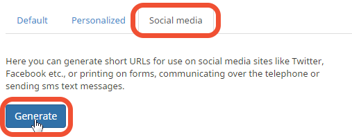 "Button ""Generate"" under tabl ""social media"""