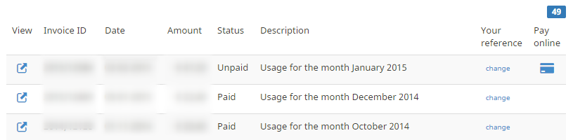 example list of paid and unpaid invoices