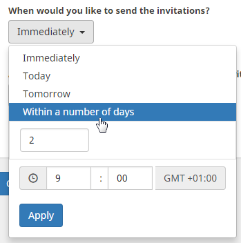 set invitation date while importing