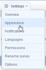 'Appearance' option under 'Settings'