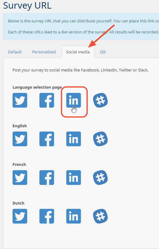 LinkedIn icon on social media tab