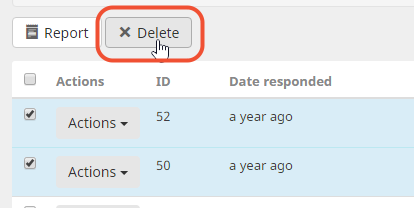 Delete responses for multiple respondents at once