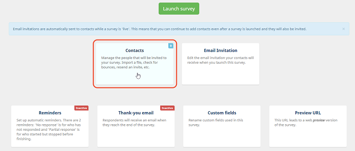 import contacts in a survey