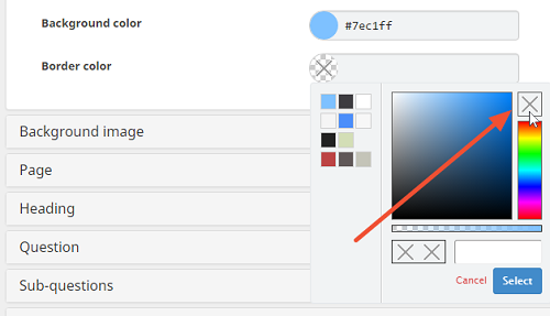 how to select a transparant color in the survey appearance editor