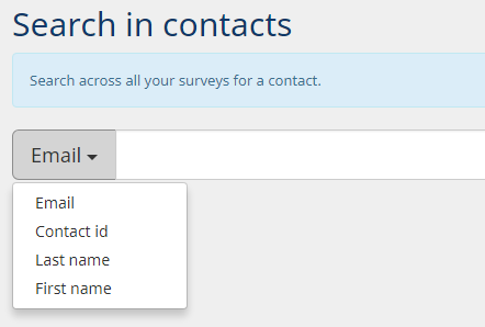 search contacts across all surveys