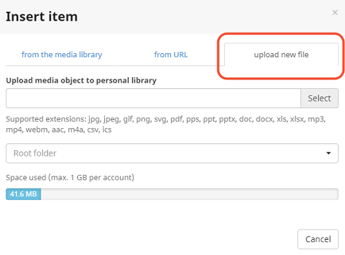 Upload new file into the media library