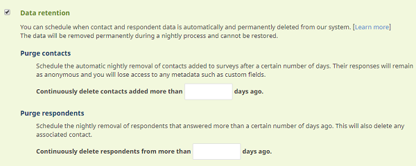 data retention on survey level