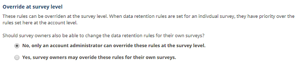 override data retention rules at survey level