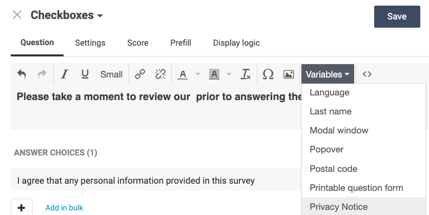 add the privacy notice to your question using a variable