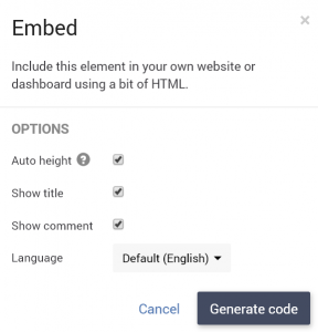 Survey report element embed
