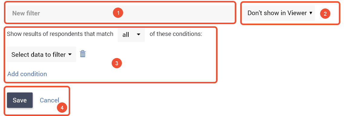 Survey report filters drawer