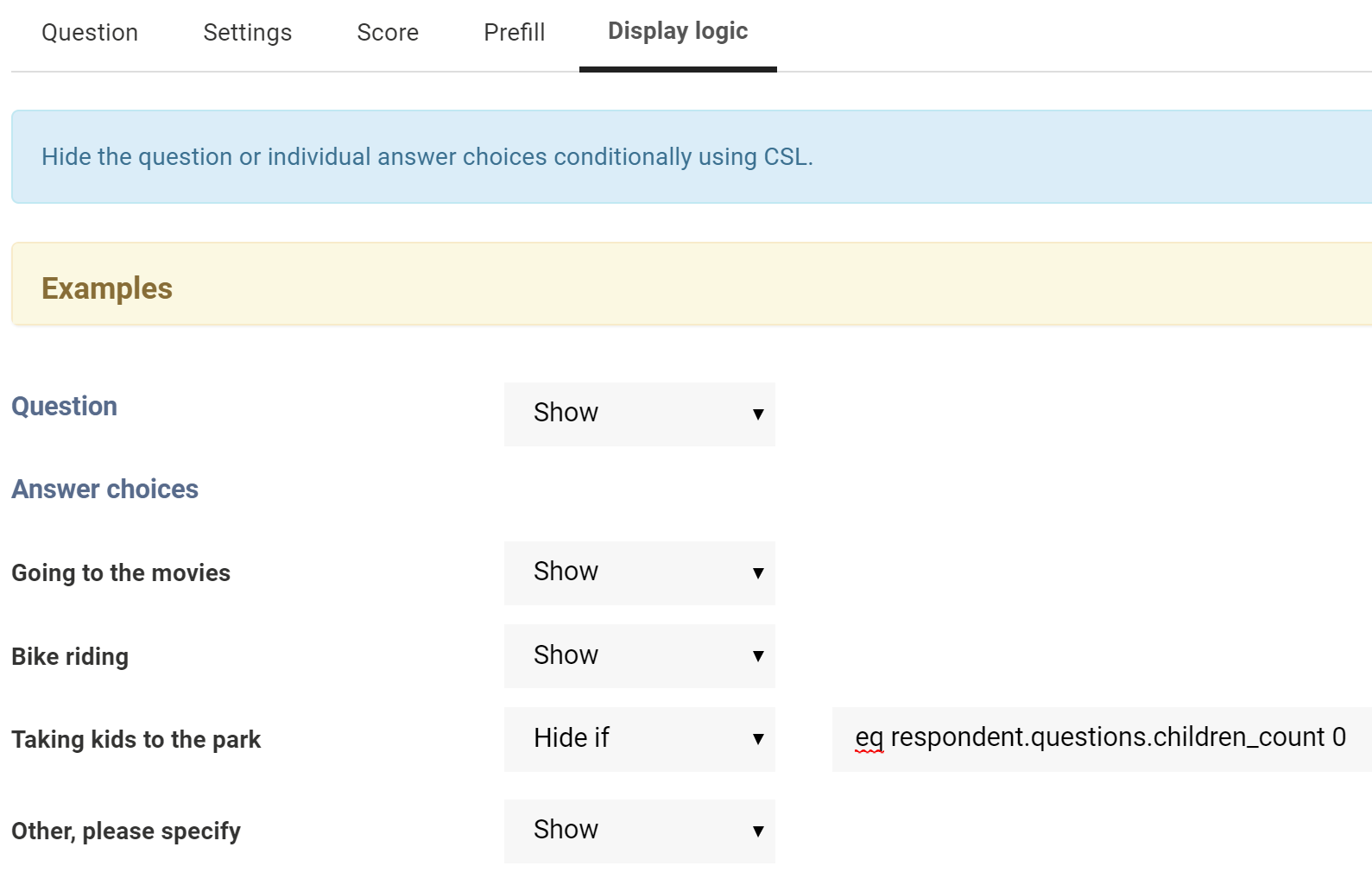 New: Question Display Logic