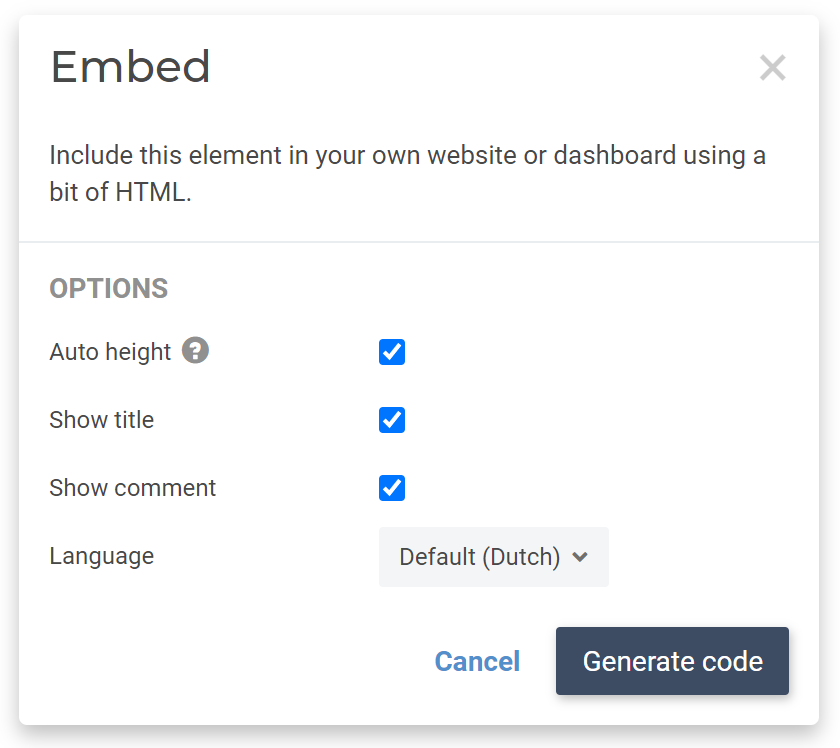 Embed report element